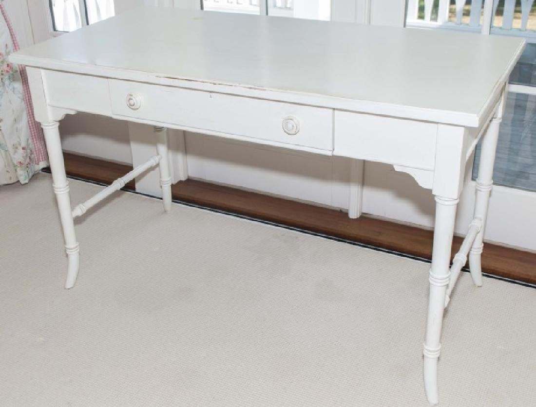 Contemporary White Painted Faux Bamboo Desk