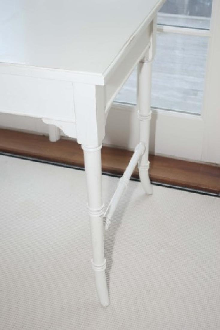 Contemporary White Painted Faux Bamboo Desk - 2