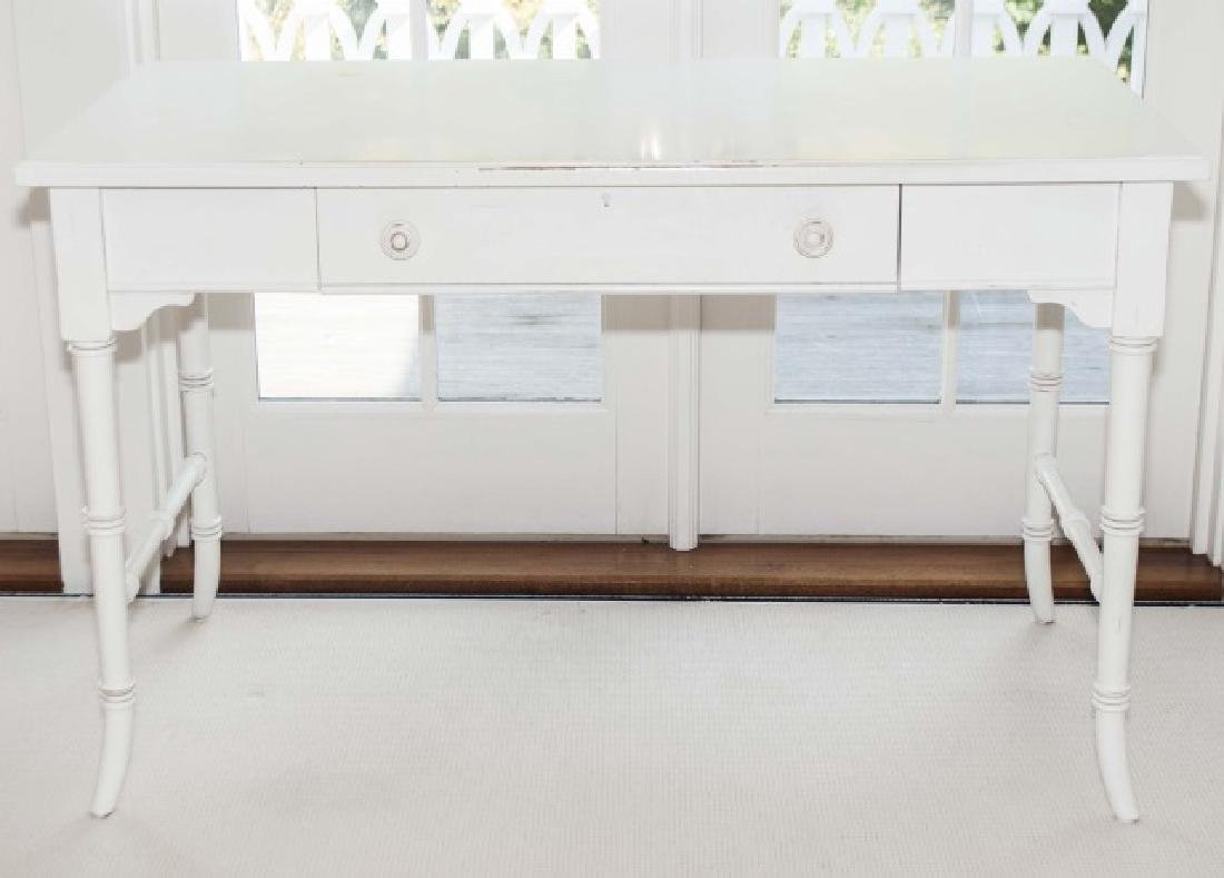 Contemporary White Painted Faux Bamboo Desk - 3