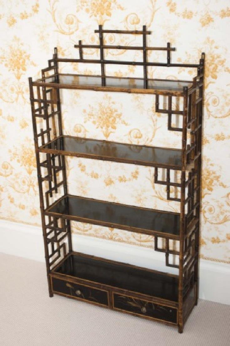 Antique Victorian Style Chinoiserie Bamboo Etagere