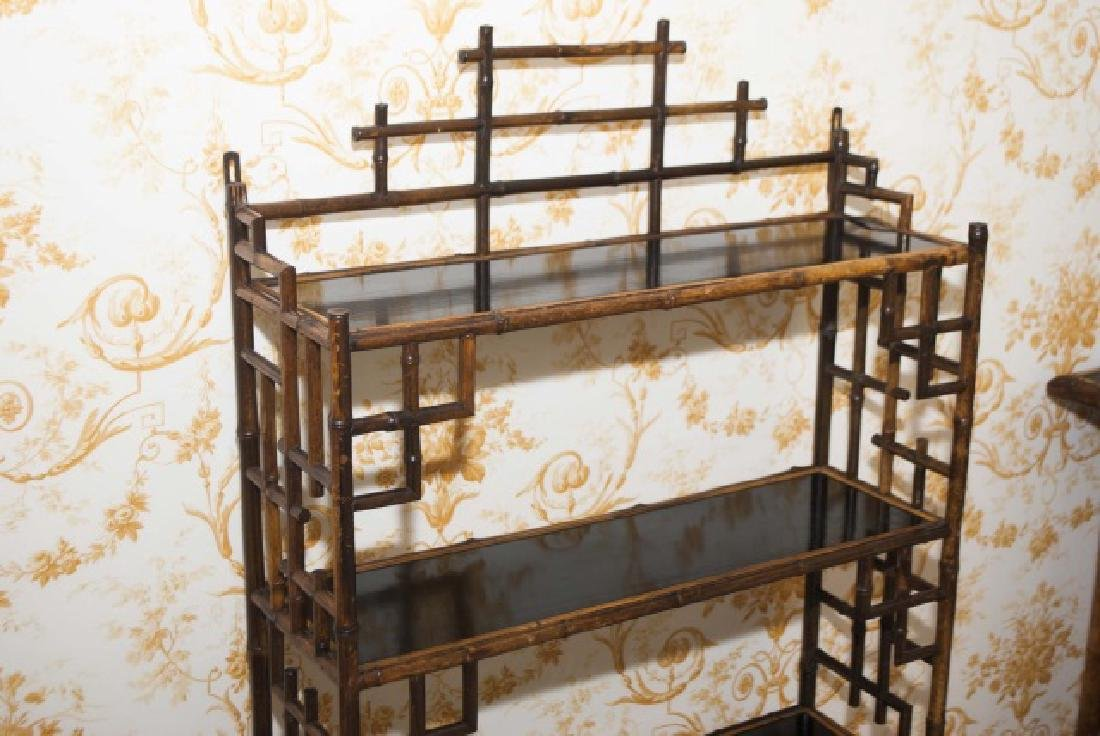 Antique Victorian Style Chinoiserie Bamboo Etagere - 2