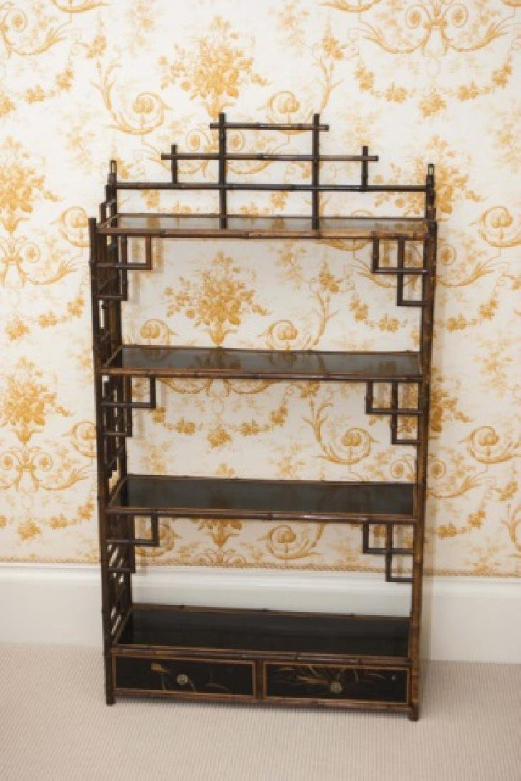 Antique Victorian Style Chinoiserie Bamboo Etagere - 3