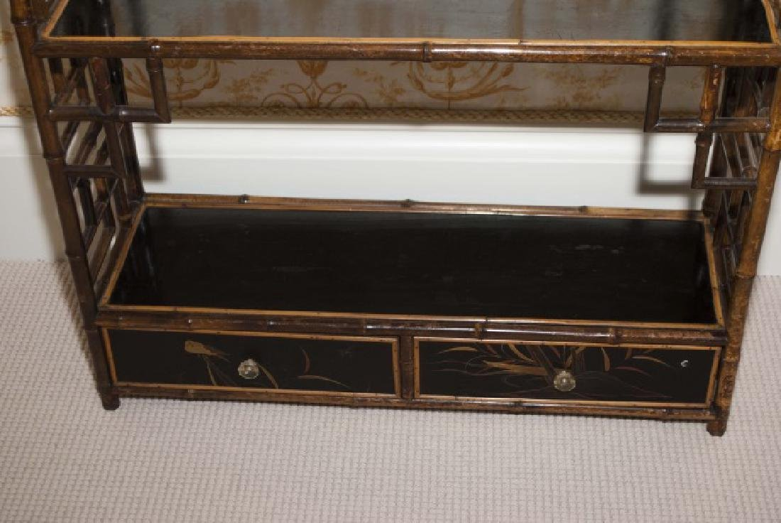 Antique Victorian Style Chinoiserie Bamboo Etagere - 4