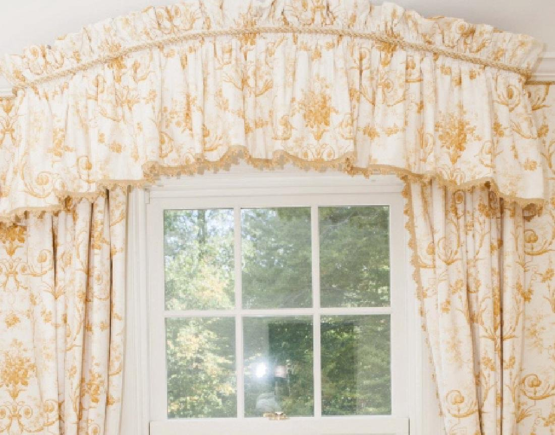 Pair of Custom Made Curtains w Adam Style Fabric - 2