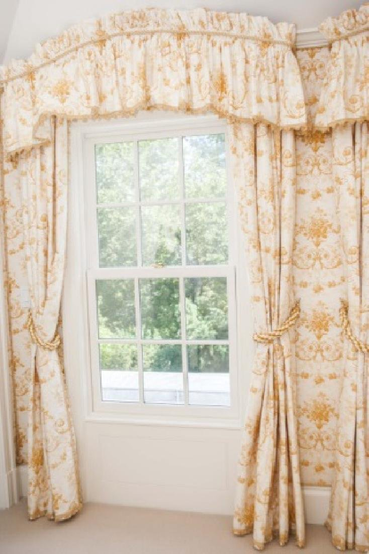 Pair of Custom Made Curtains w Adam Style Fabric - 3