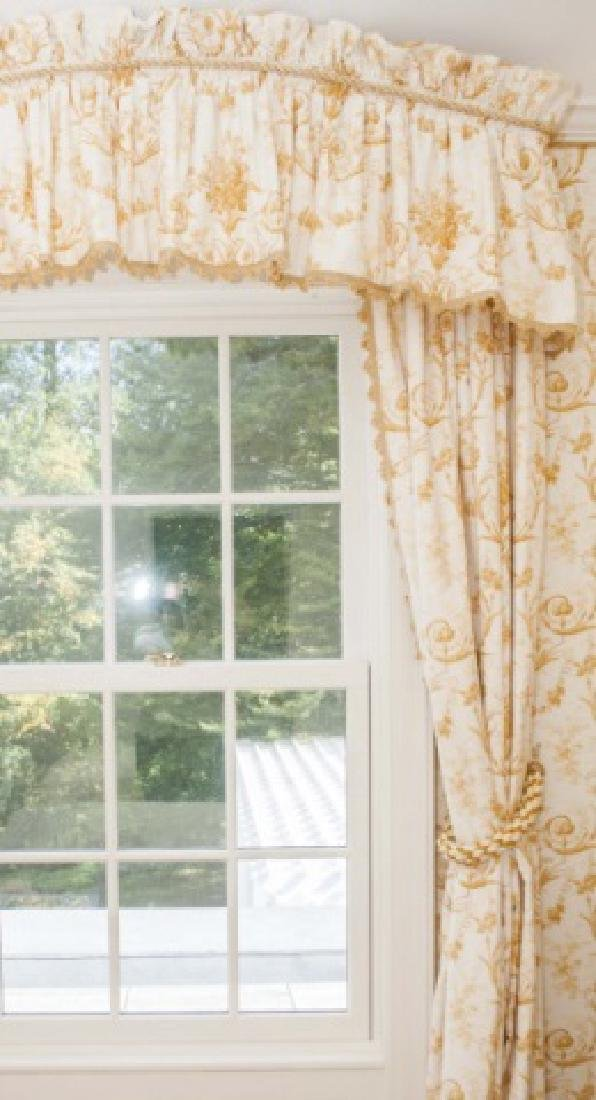 Pair of Custom Made Curtains w Adam Style Fabric - 4