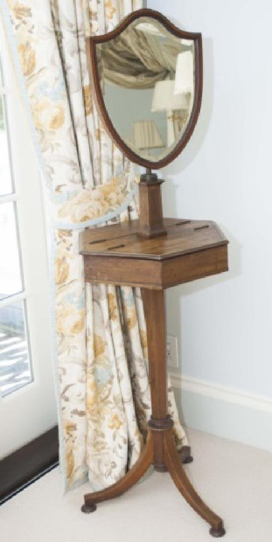 Antique C 1900 English Shaving Stand w Mirror