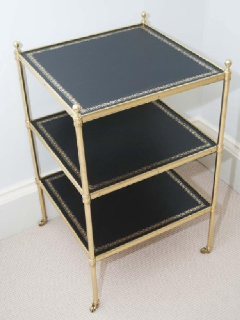 Empire Style Ormolu & Embossed Leather End Table