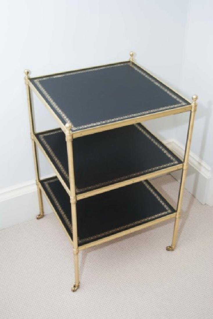 Empire Style Ormolu & Embossed Leather End Table - 3