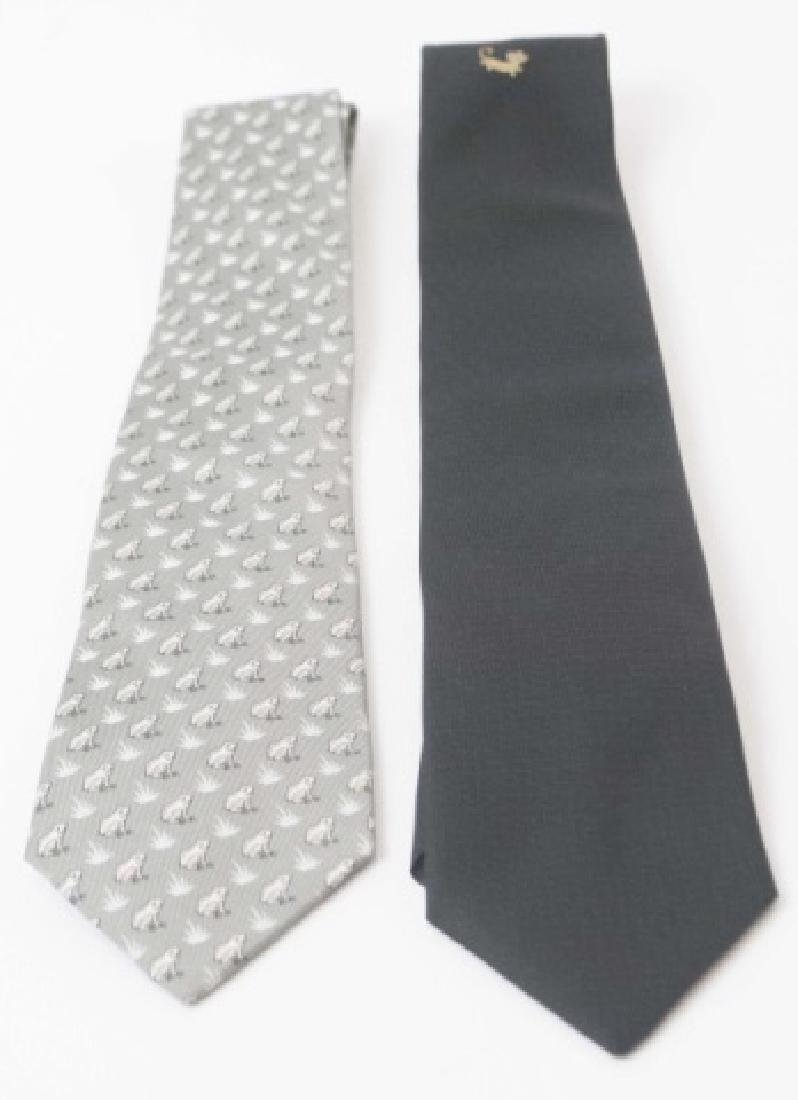 Pair Hermes Paris Ties - Black wGold Mouse & Frogs