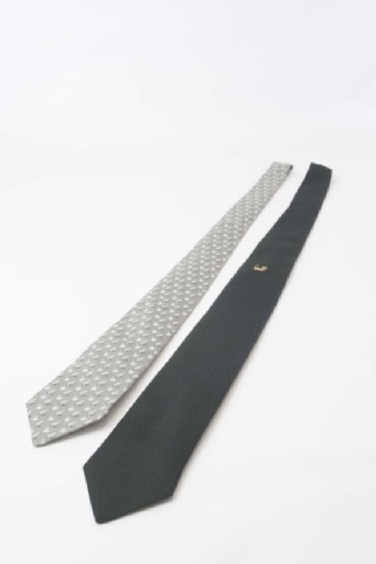 Pair Hermes Paris Ties - Black wGold Mouse & Frogs - 2