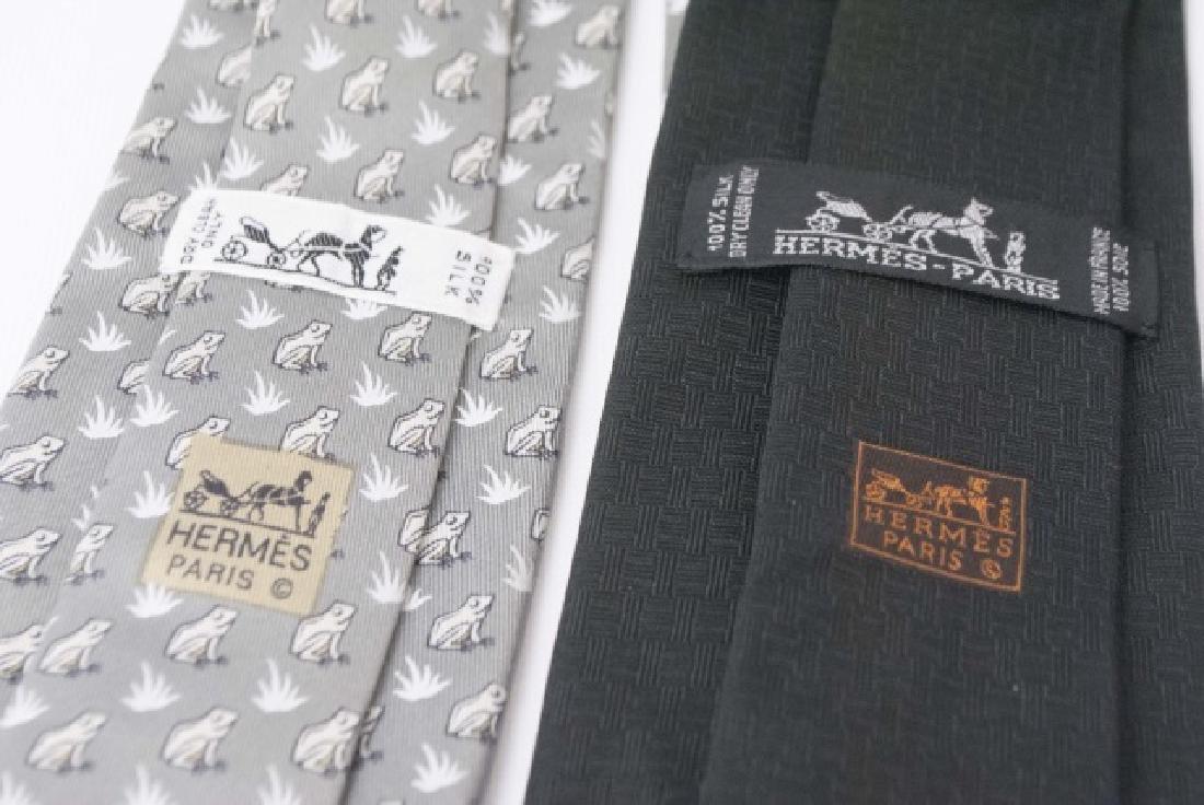 Pair Hermes Paris Ties - Black wGold Mouse & Frogs - 3