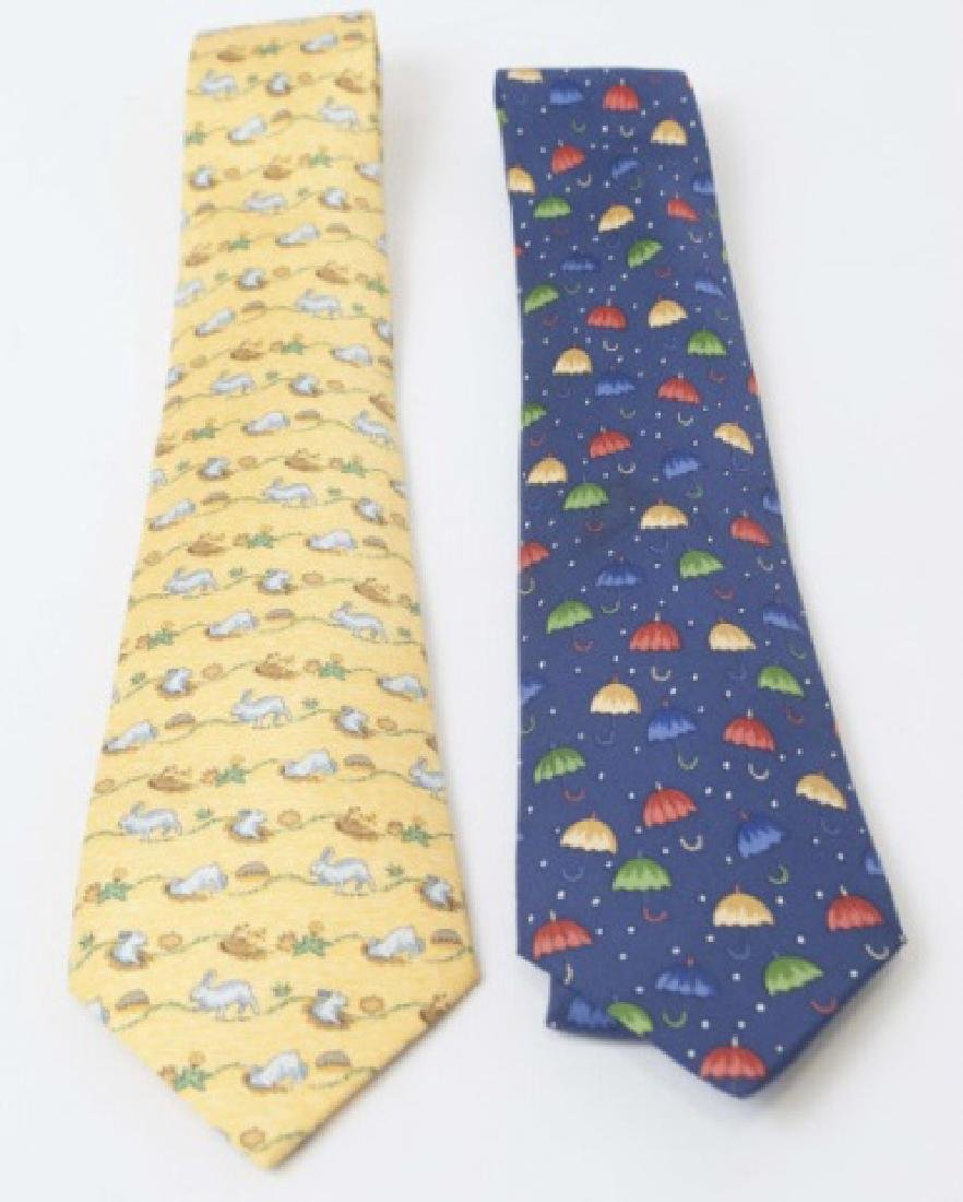 Pair Hermes Paris Ties - Blue Umbrellas & Bunnies