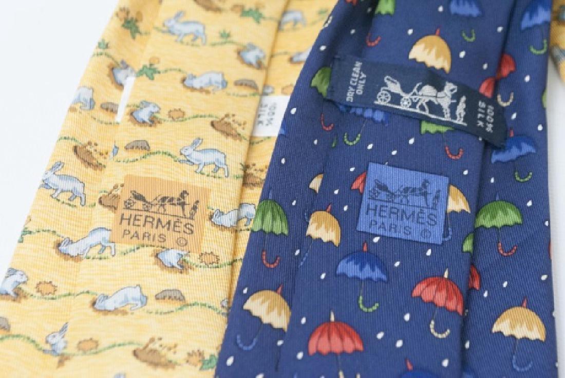 Pair Hermes Paris Ties - Blue Umbrellas & Bunnies - 3