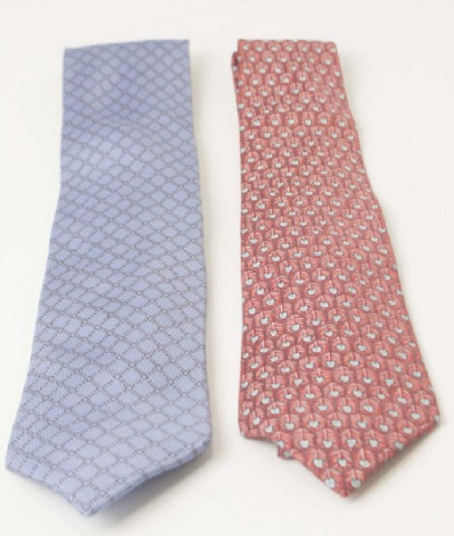 Pair Hermes Paris Ties -Red/Blue & Blue Pattern