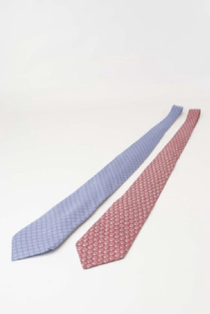 Pair Hermes Paris Ties -Red/Blue & Blue Pattern - 2