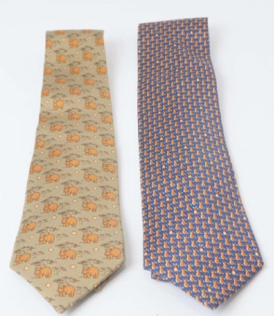 Pair Hermes Paris Ties - Orange Hippos & Bunnies