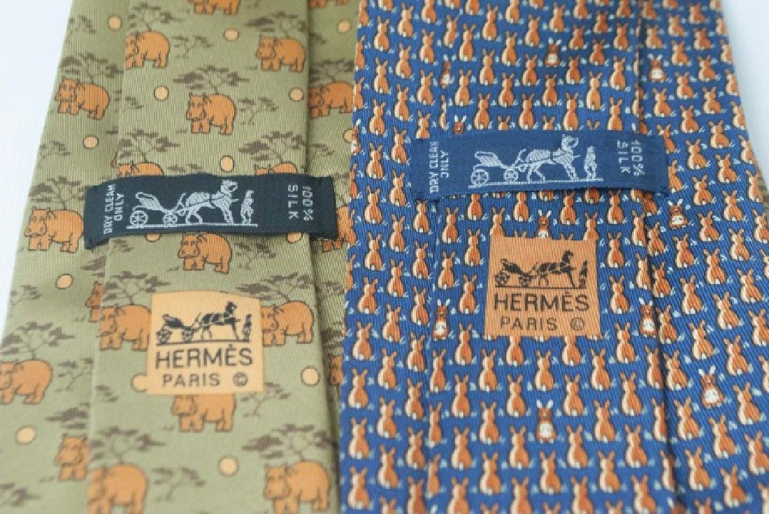 Pair Hermes Paris Ties - Orange Hippos & Bunnies - 3