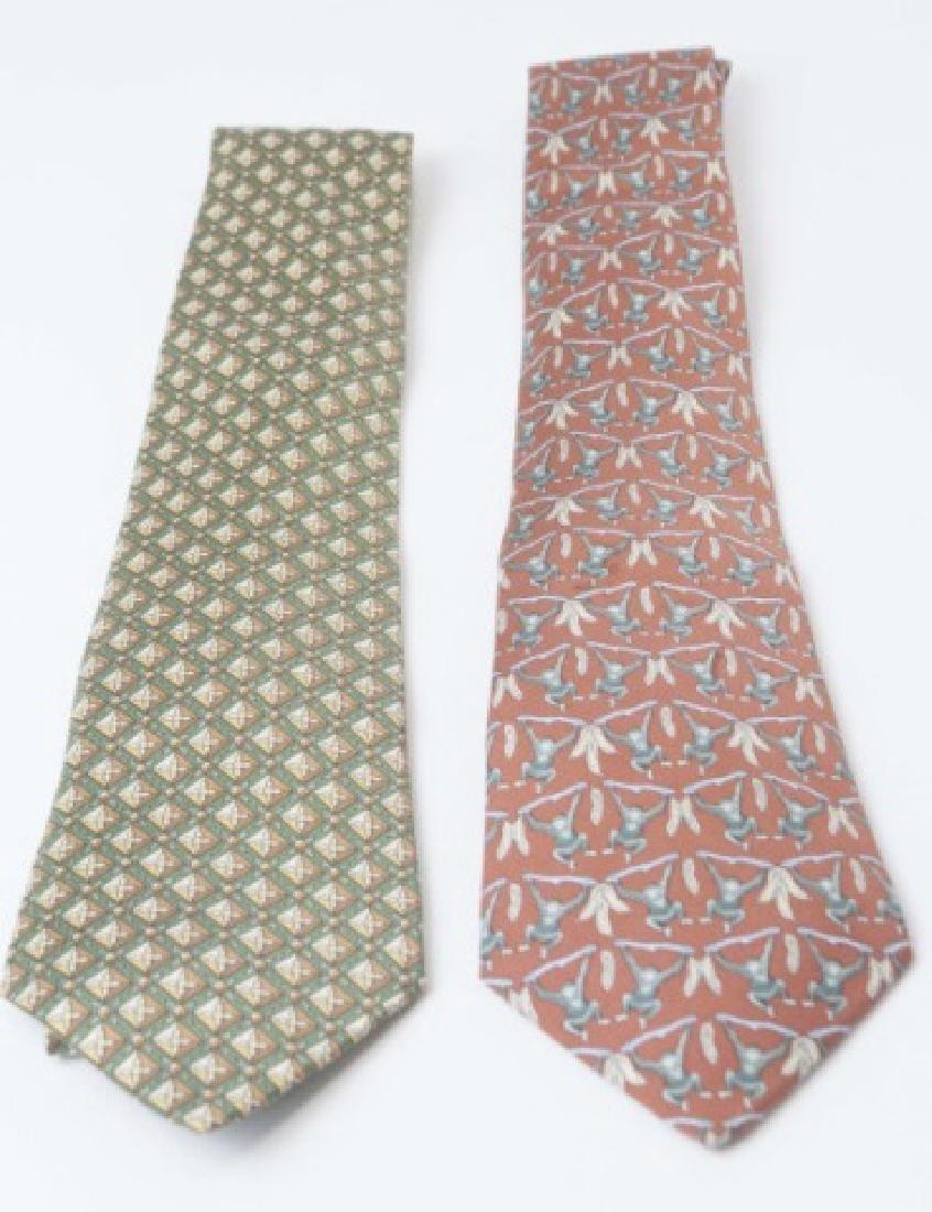 Pair Hermes Paris Ties - Monkeys & Green Diamond