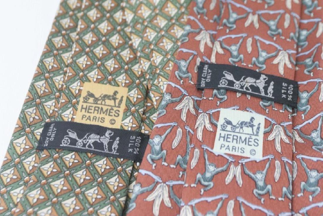 Pair Hermes Paris Ties - Monkeys & Green Diamond - 3
