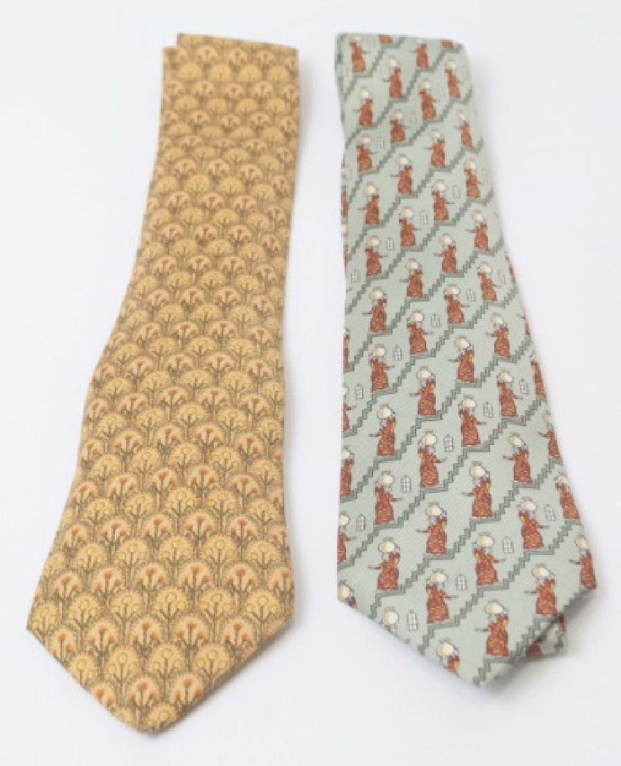 Pair Hermes Paris Ties - Copper Tones & Fern Green