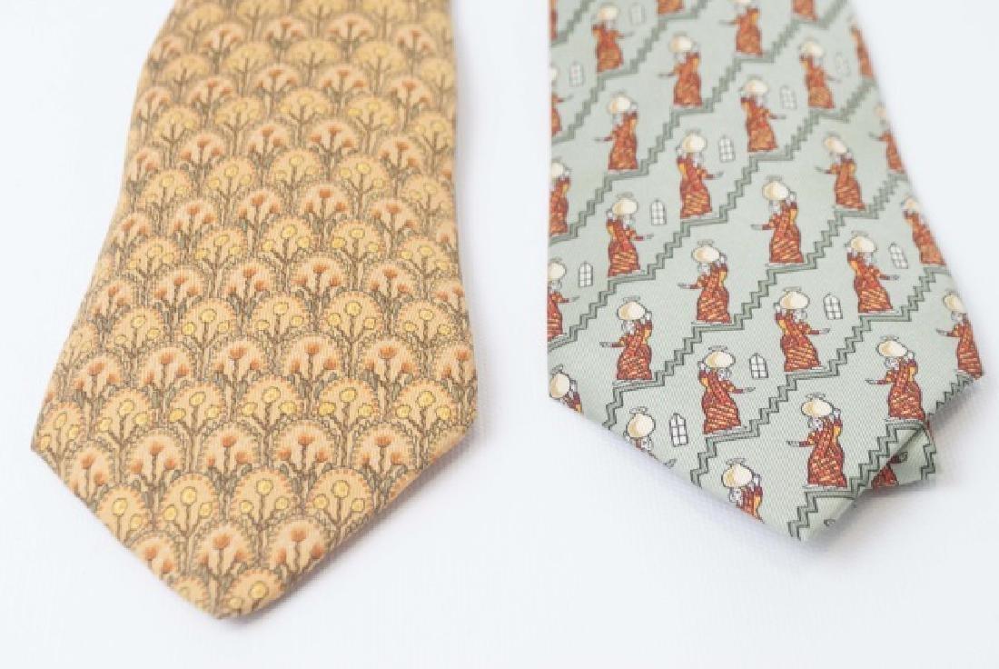 Pair Hermes Paris Ties - Copper Tones & Fern Green - 3