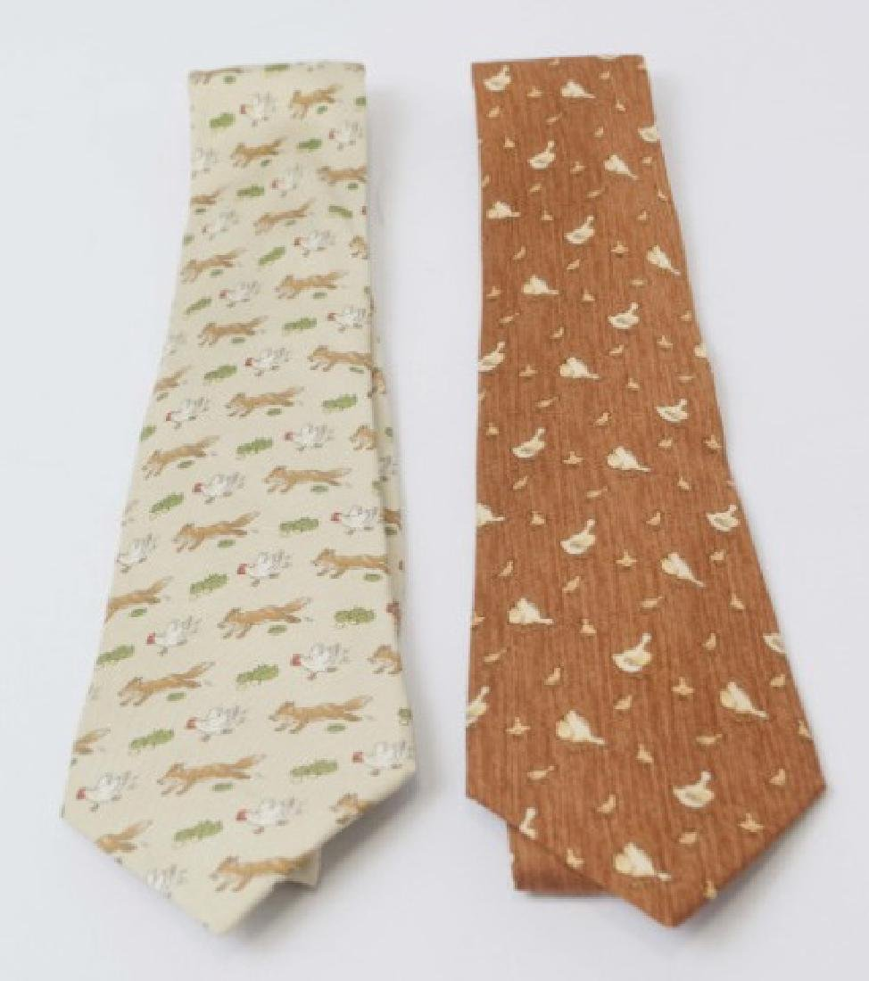 Pair Hermes Paris Ties - Fox & Hen and Ducks