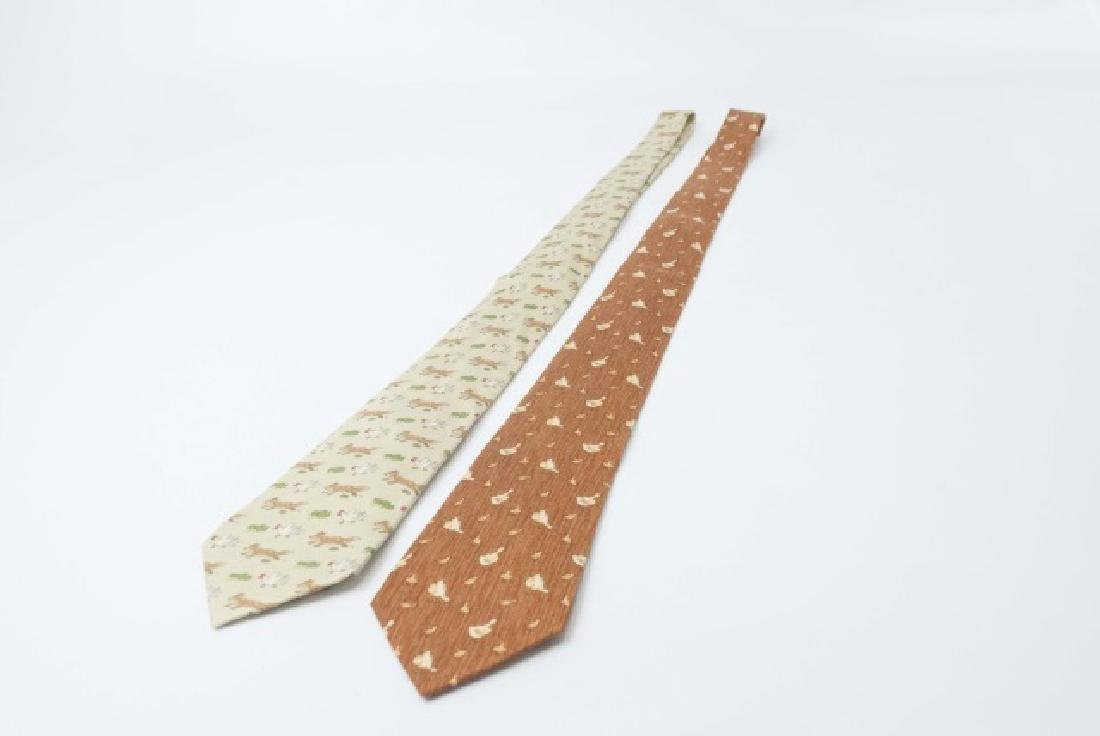 Pair Hermes Paris Ties - Fox & Hen and Ducks - 2