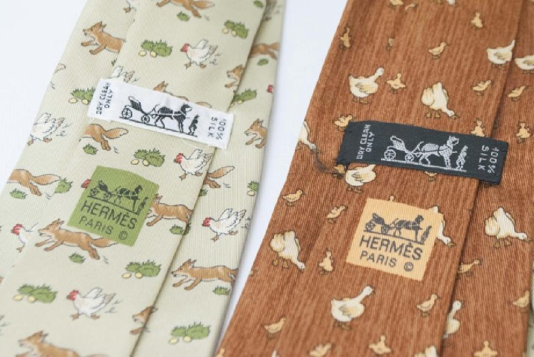 Pair Hermes Paris Ties - Fox & Hen and Ducks - 3