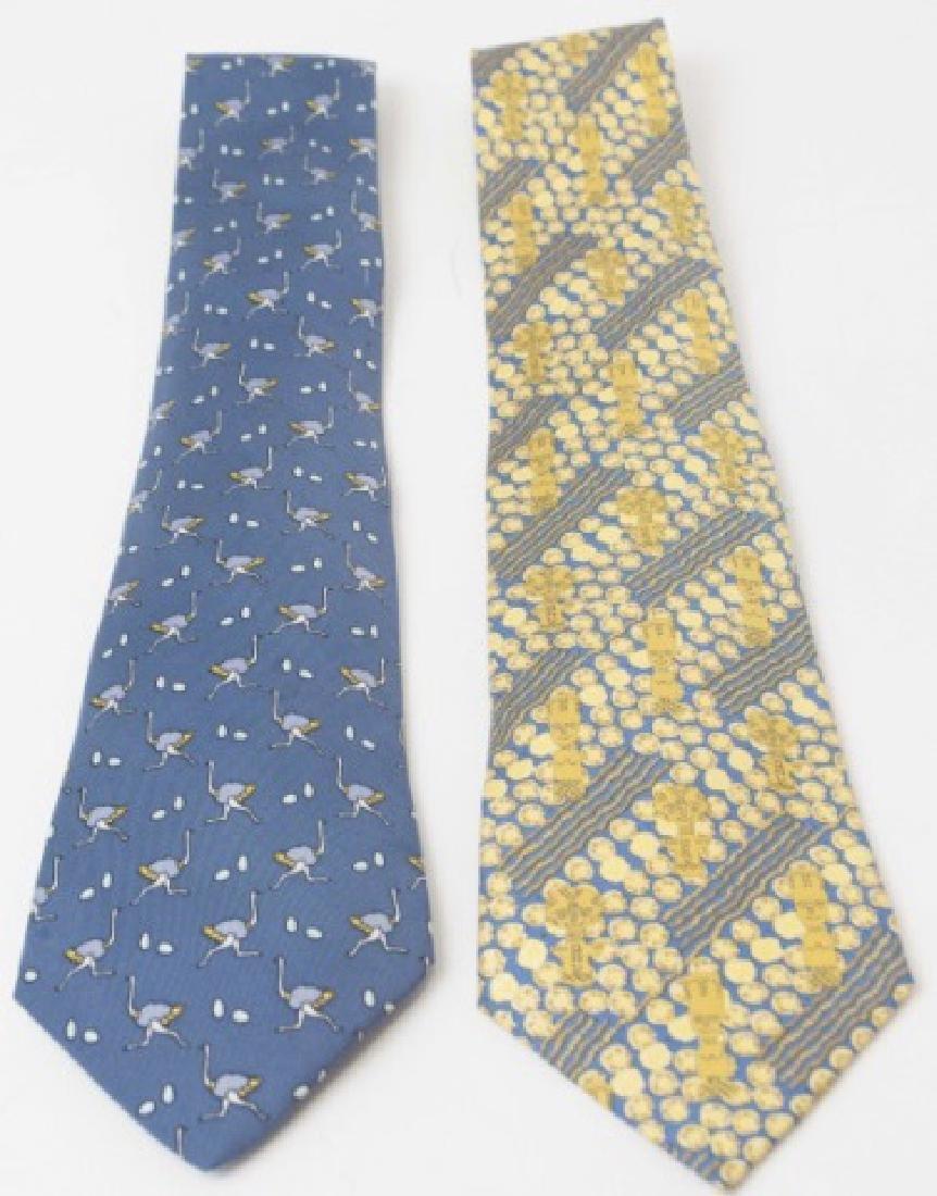 Pair Hermes Paris Ties - Ostrich & Blue Gold
