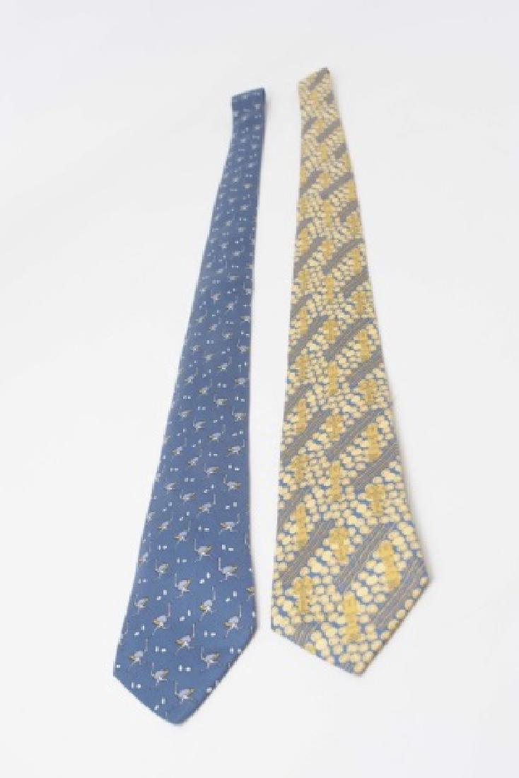 Pair Hermes Paris Ties - Ostrich & Blue Gold - 2