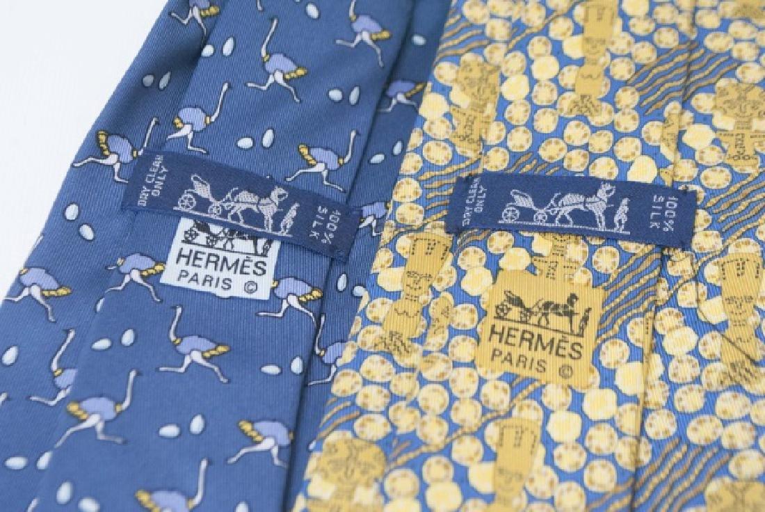 Pair Hermes Paris Ties - Ostrich & Blue Gold - 3