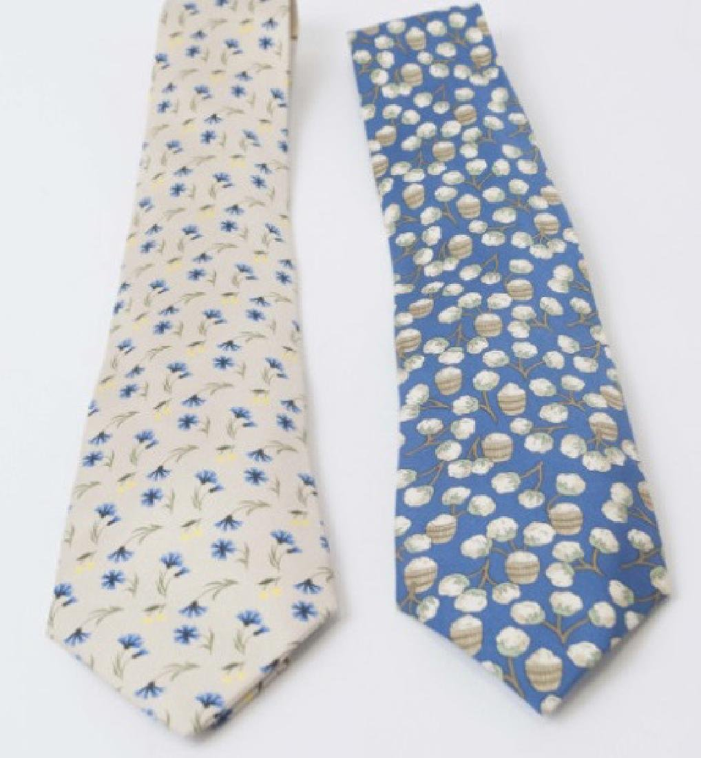 Pair Hermes Paris Ties - Cotton Picking & Floral