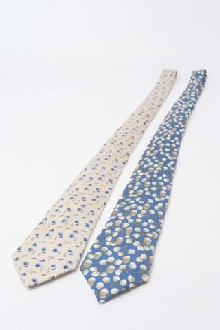 Pair Hermes Paris Ties - Cotton Picking & Floral - 2