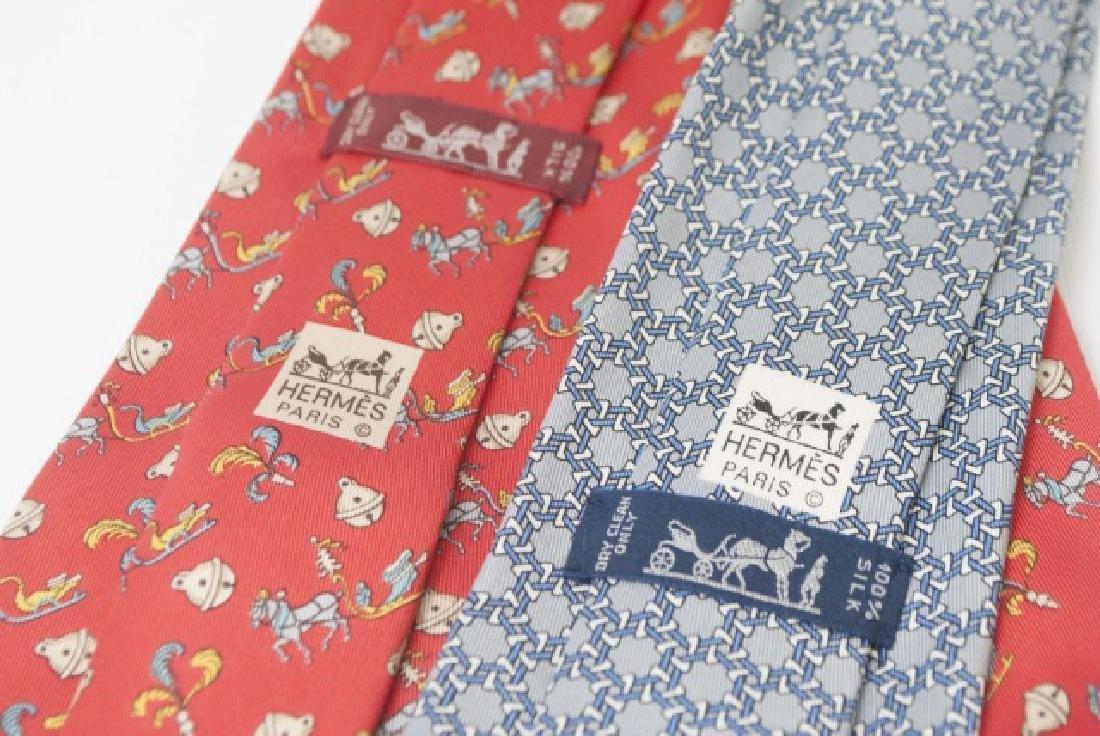 Pair Hermes Paris Ties -Horses/Bells & Blue Design - 3