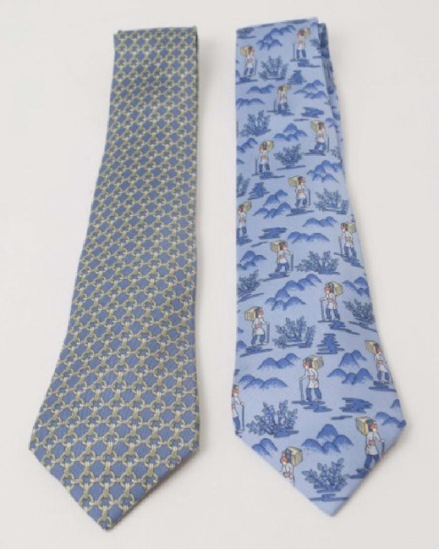 Pair Hermes Paris Ties - Wanderer & Blue Link