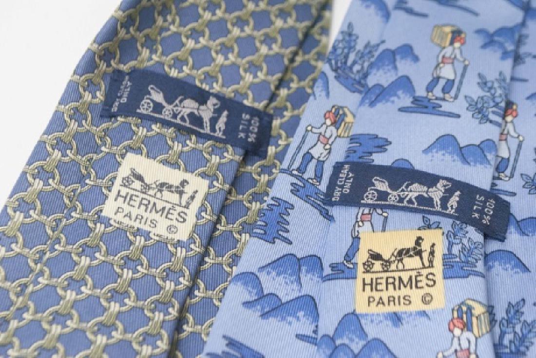 Pair Hermes Paris Ties - Wanderer & Blue Link - 2