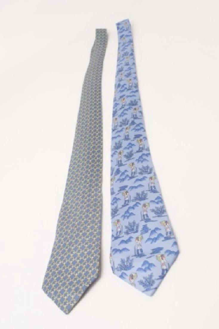 Pair Hermes Paris Ties - Wanderer & Blue Link - 3