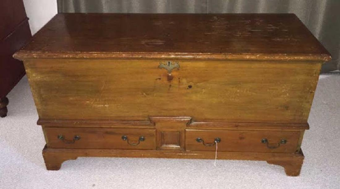 Antique American 19th Century Wood Trunk w Drawers