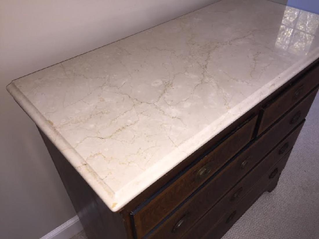 Victorian Marble Top Dresser w Beveled Edge - 3