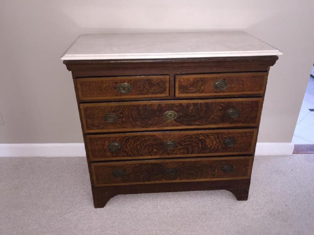Victorian Marble Top Dresser w Beveled Edge - 5