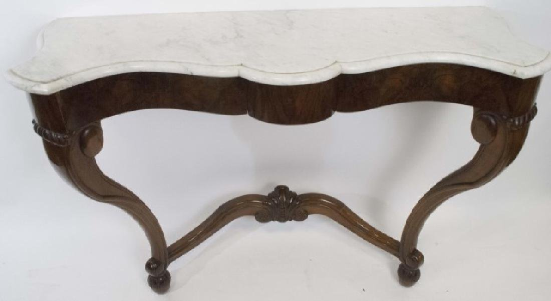 Antique Victorian Console Table w White Marble Top