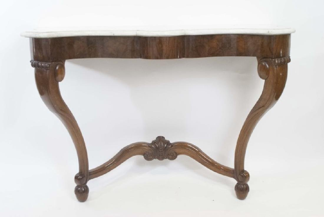 Antique Victorian Console Table w White Marble Top - 2