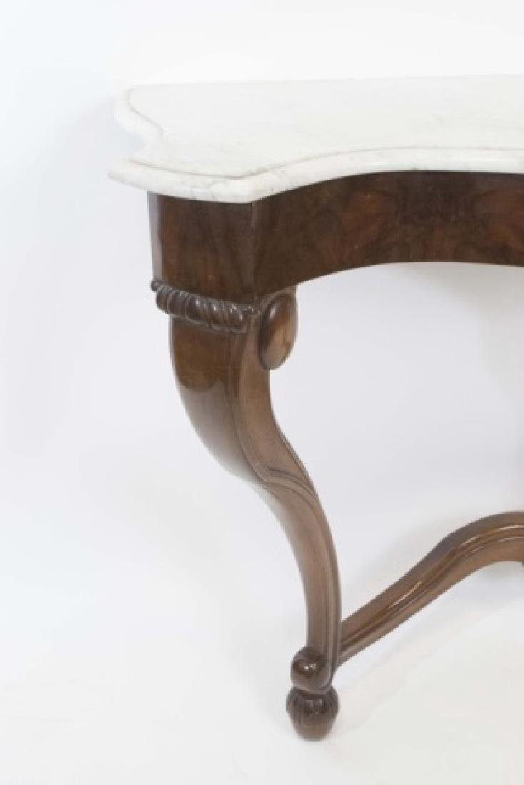 Antique Victorian Console Table w White Marble Top - 4
