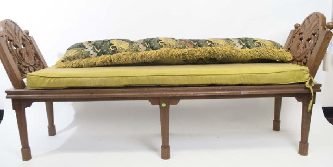 Bali Hand Carved Wood Accent Bench with Cushion