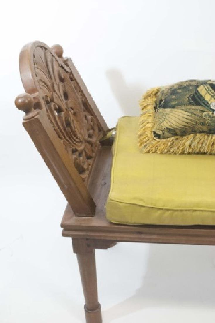 Bali Hand Carved Wood Accent Bench with Cushion - 3
