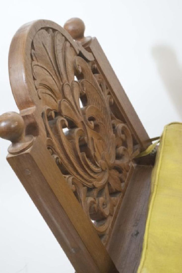 Bali Hand Carved Wood Accent Bench with Cushion - 4