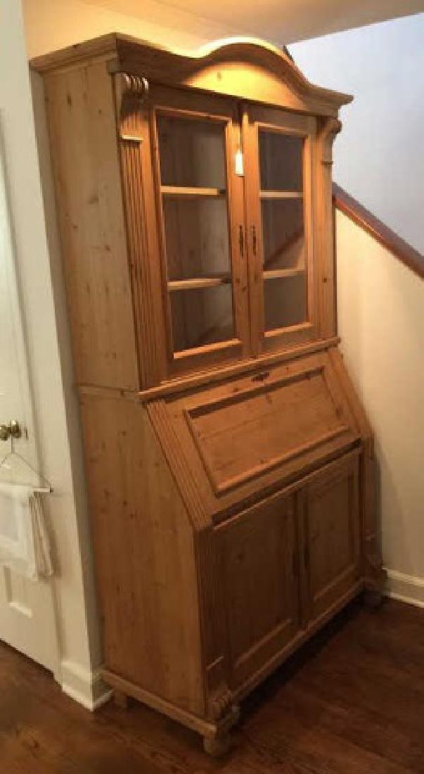 Pine Secretary Desk/Hutch w Carved Details & Glass