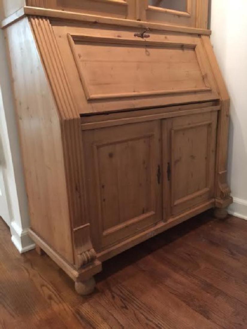 Pine Secretary Desk/Hutch w Carved Details & Glass - 2