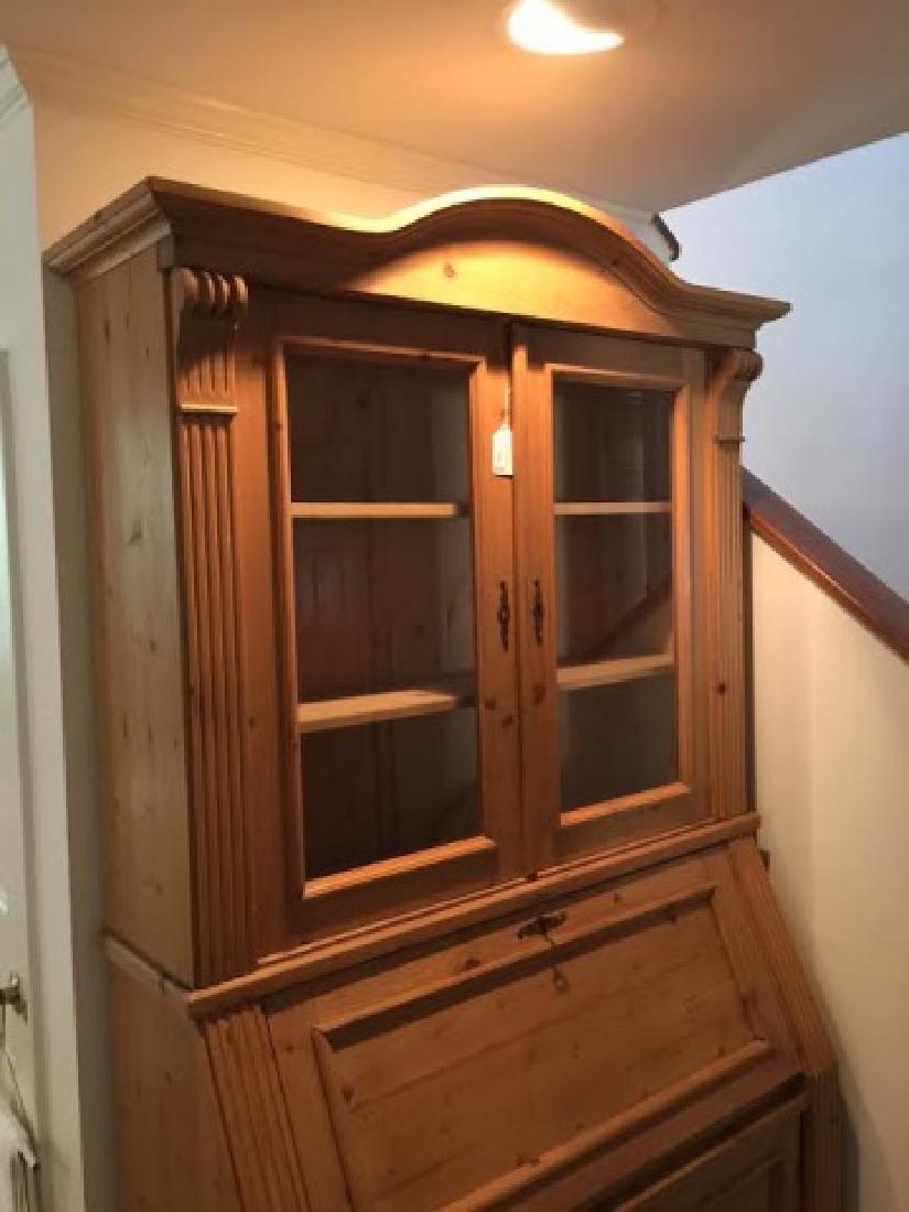Pine Secretary Desk/Hutch w Carved Details & Glass - 4
